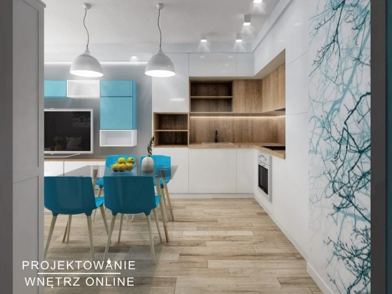 Projektowanie Wnętrz Online-Projekt Kuchni ze stołem w błękicie