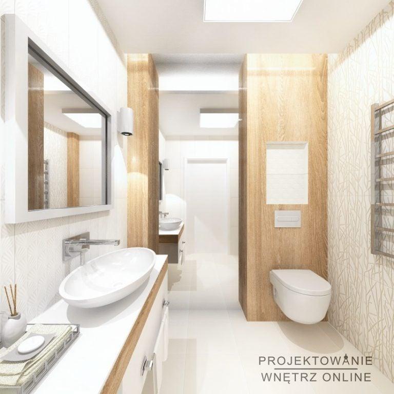 Projektowanie Wnętrz Online-Projektowanie Łazienki w Bieli i Drewnie