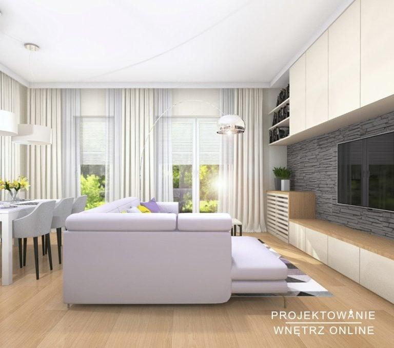 Projektowanie Wnętrz Online Salon ze stołem i TV