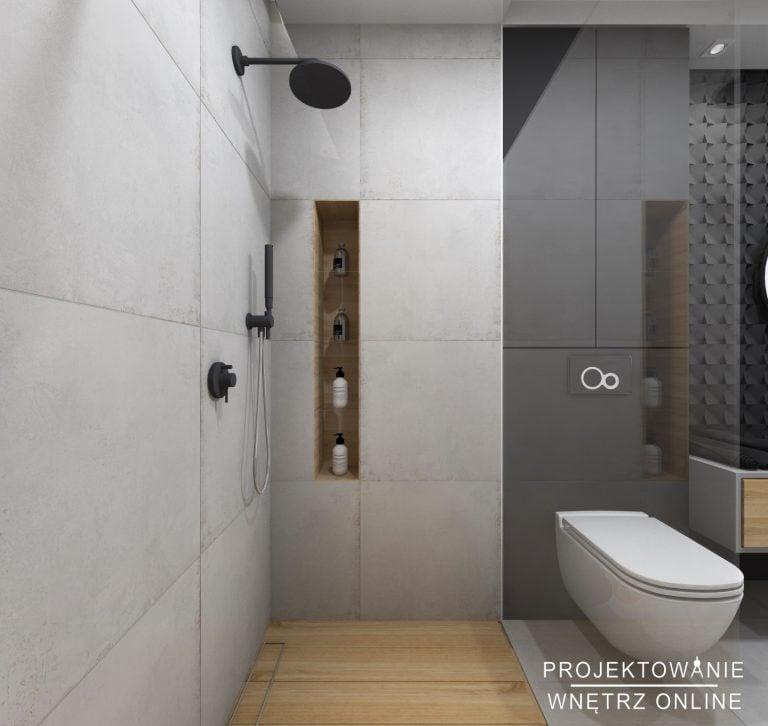 Łazienka w szarości z akcentem drewna