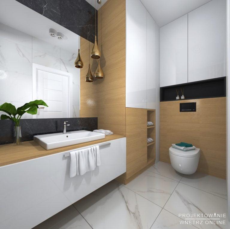 łazienka z ciemnym marmurem oraz jasnym drewnem