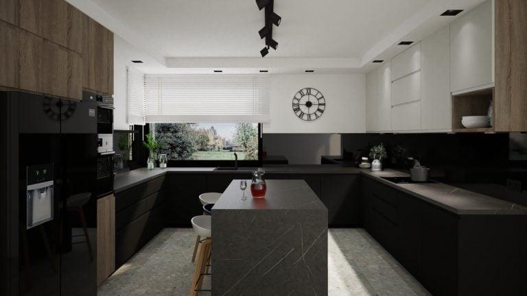Duza kuchnia w kolorze czarnym z wyspa na srodku - Projekt Kuchni