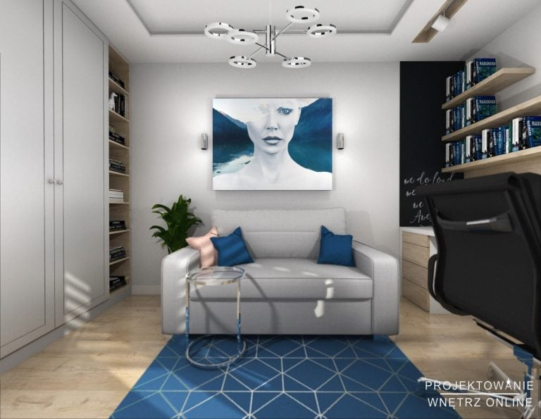 Gabinet do pracy w domu w kolorze niebieskim