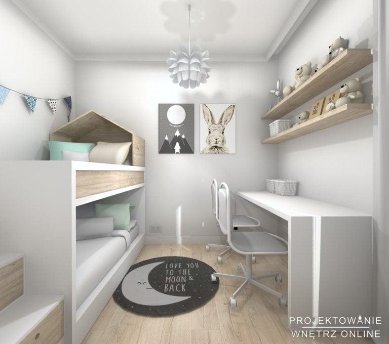 Projekt pokoju dzieci - Pokój dwóch chłopców z biurkami do nauki i łóżkiem piętrowym