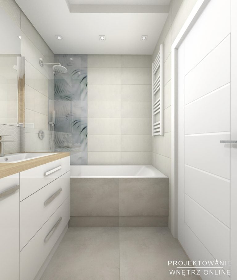 Projekt łazienki w bieli i szarościach
