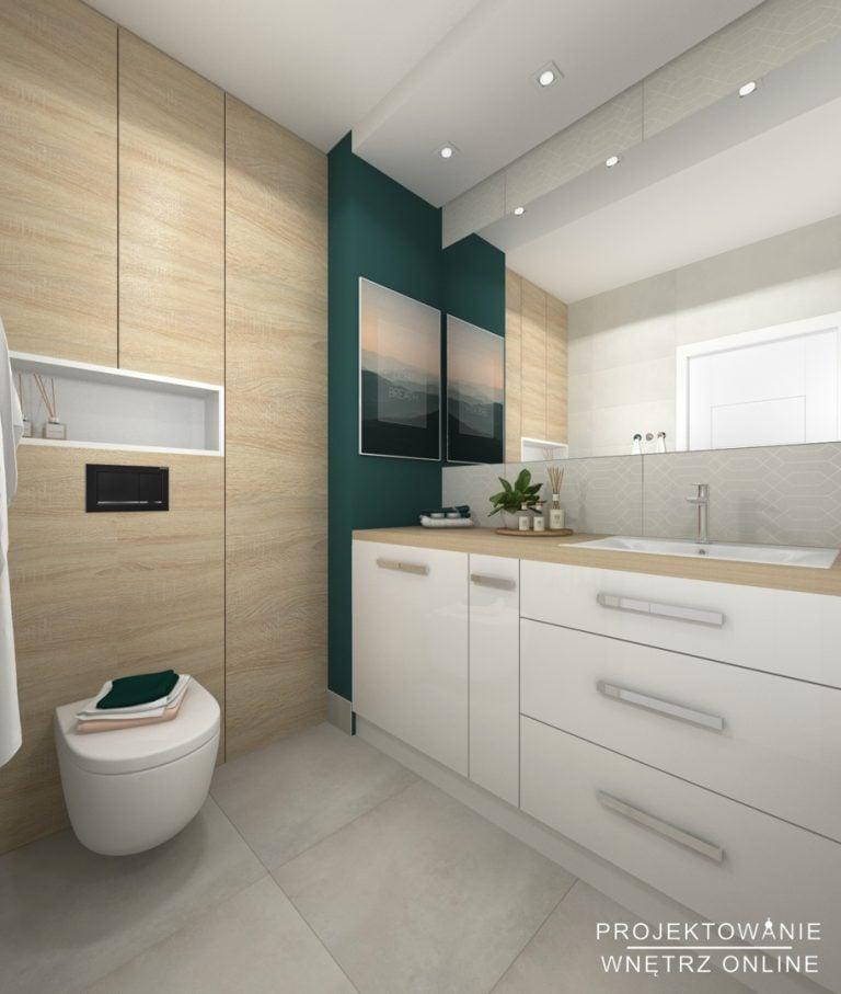 Projekt łazienki w bieli z drewnem i akcentem zielonego