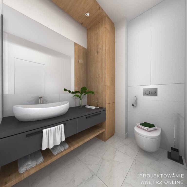 Projekt łazienki z marmurową posadzką oraz drewnianą i białą zabudową