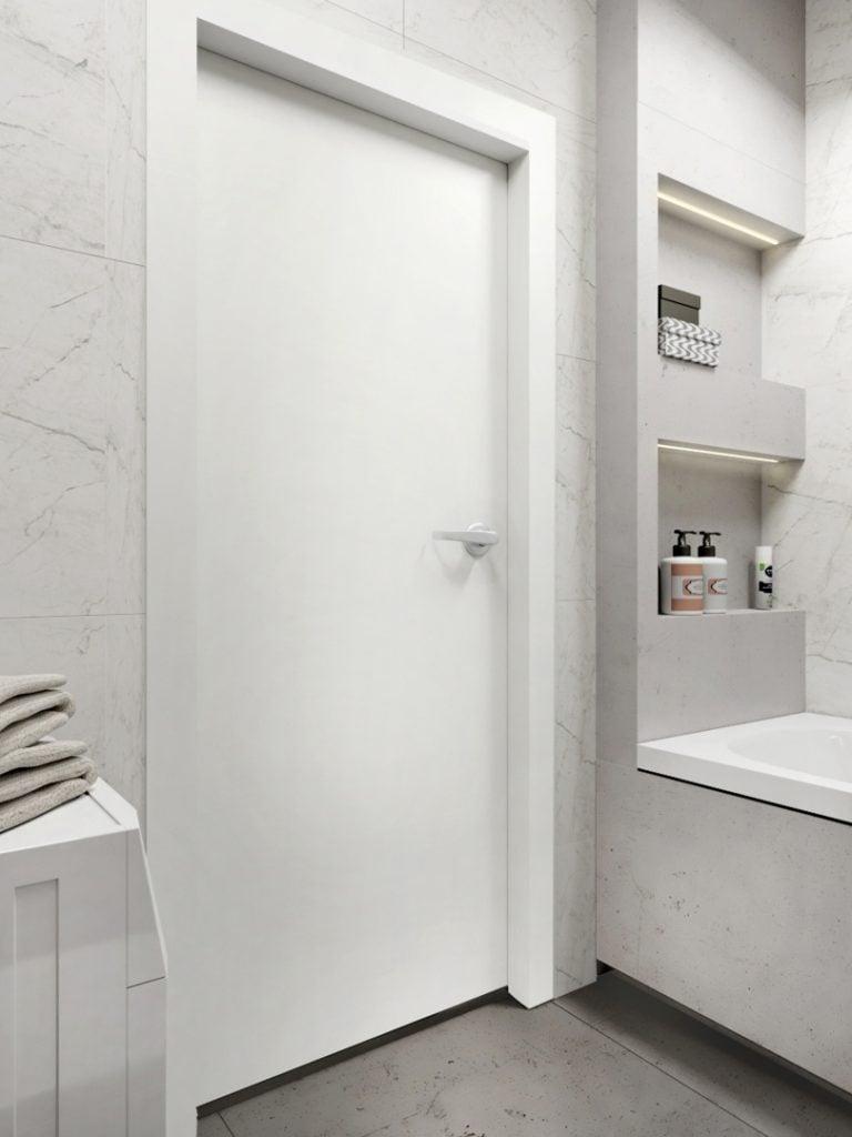 Projekt malej łazienki z pułkami nad wanną