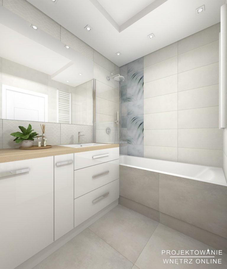 Projektowanie łazienki z wanna z prysznicem i dużym lustrem
