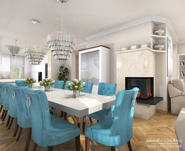 Salon z Kuchnia w stylu Glamour