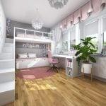 Rozowa sypialnia dziewczynki z lozkiem na antresoli