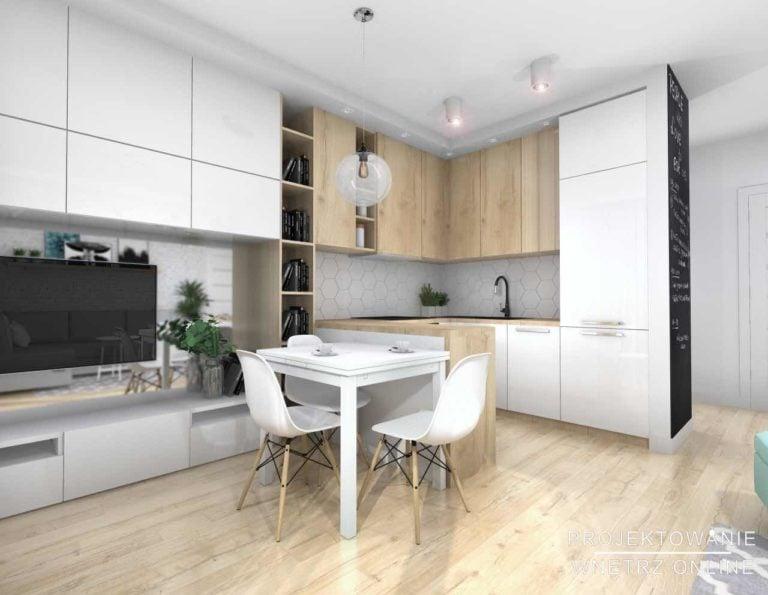 Salon z kuchnią w jasnych barwach
