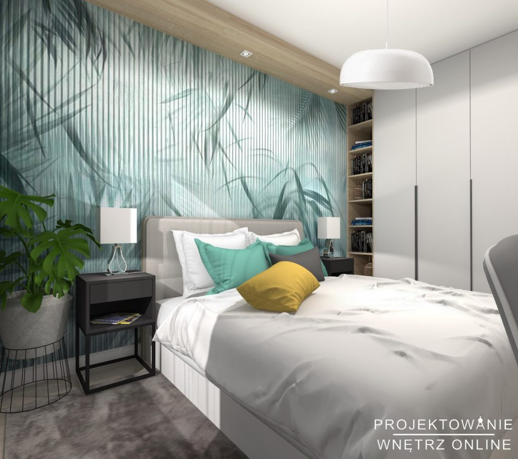 Skandynawska sypialnia w odcieniach turkusu 10