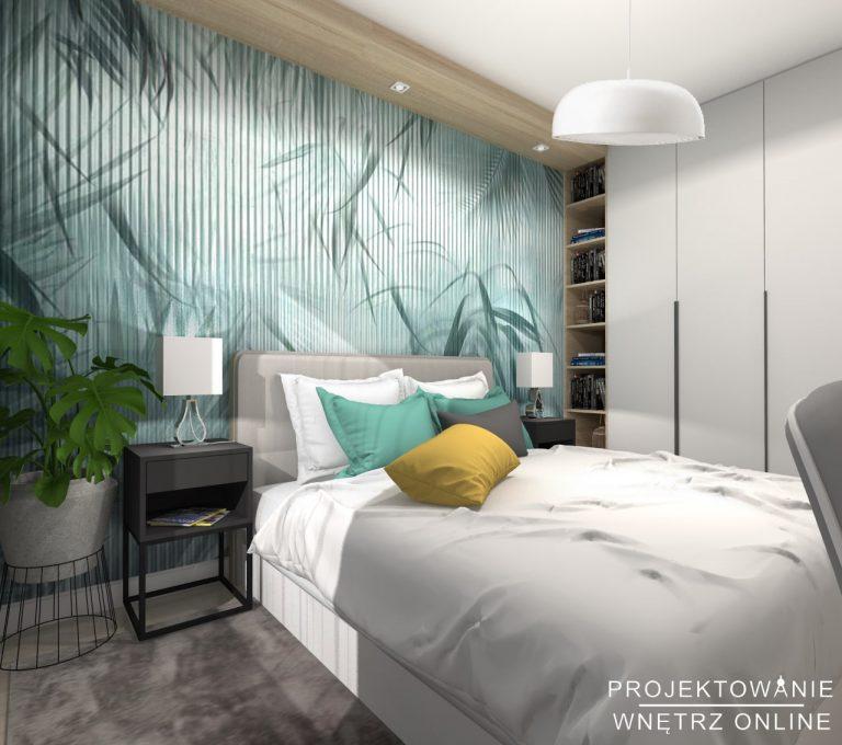 Skandynawska sypialnia w odcieniach turkusu