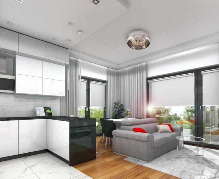Minimalistyczna kuchnia i salon