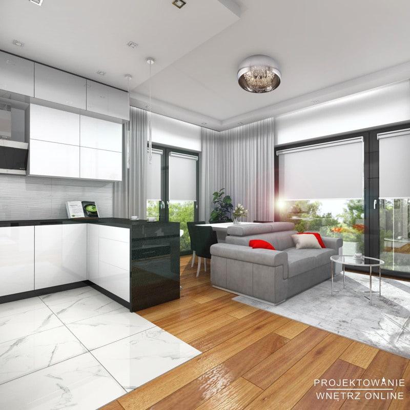 Minimalistyczna kuchnia i salon 1