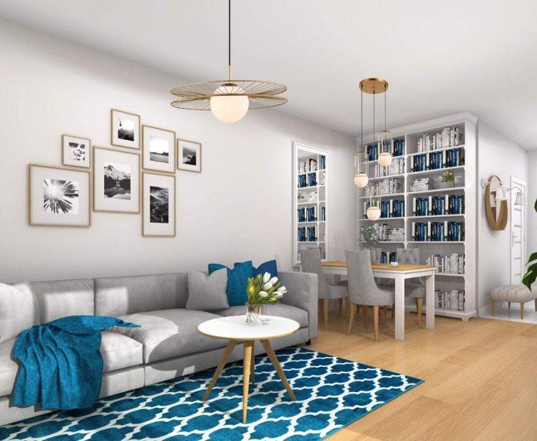 Projekt wnętrza salon w stylu nowoczesnym