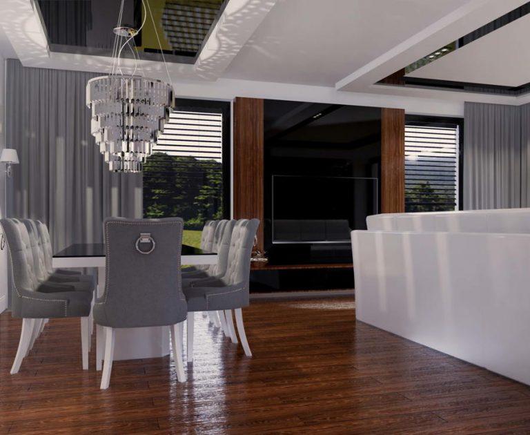 Aranżacja salonu z jadalnią w stylu glamour