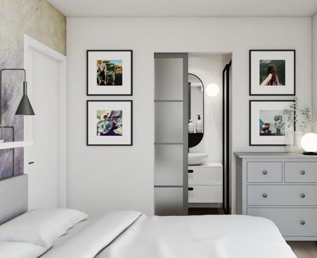 Projekt sypialni z łazienką 8