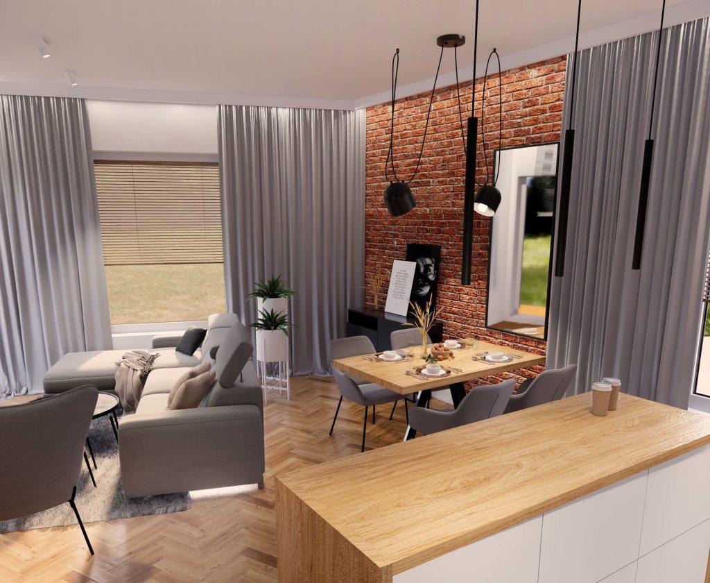 Salon z aneksem kuchennym w stylu loft 6