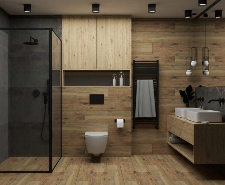 Skandynawska łazienka w czerni i drewnie