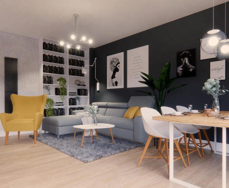 Funkcjonalny salon z kuchnią IKEA