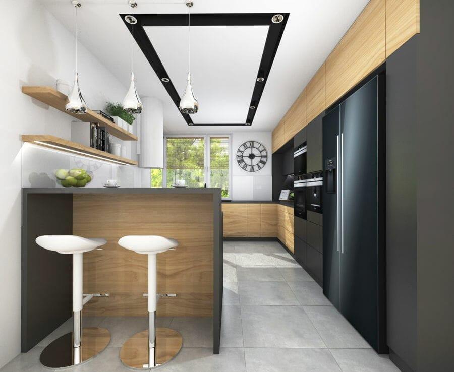 Kuchnia w czerni i drewnie styl nowoczesny 3