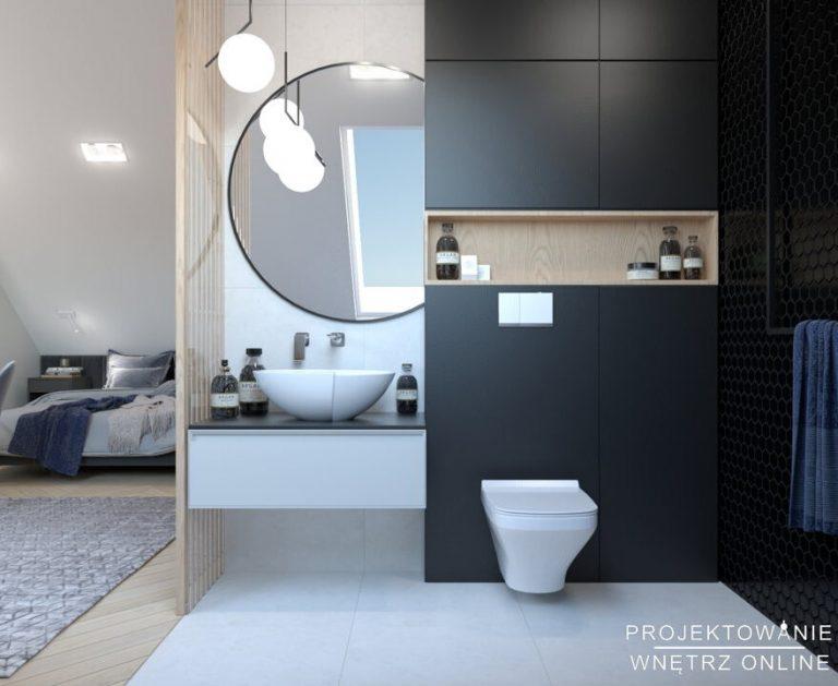 Projekt poddasza sypialnia z łazienką
