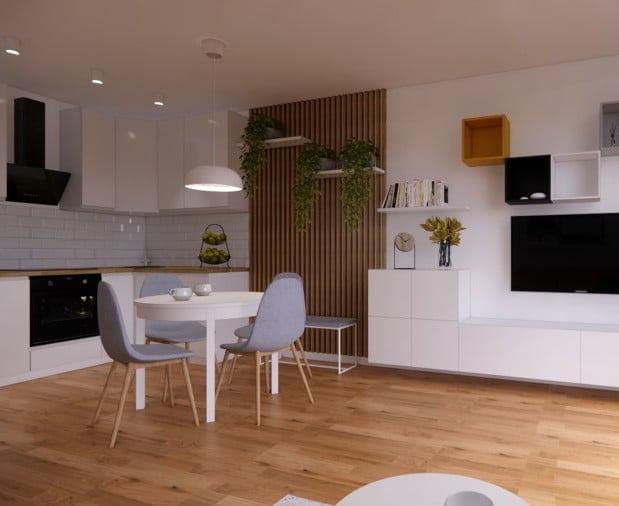 Wystrój salonu z aneksem kuchennym w stylu skandynawskim