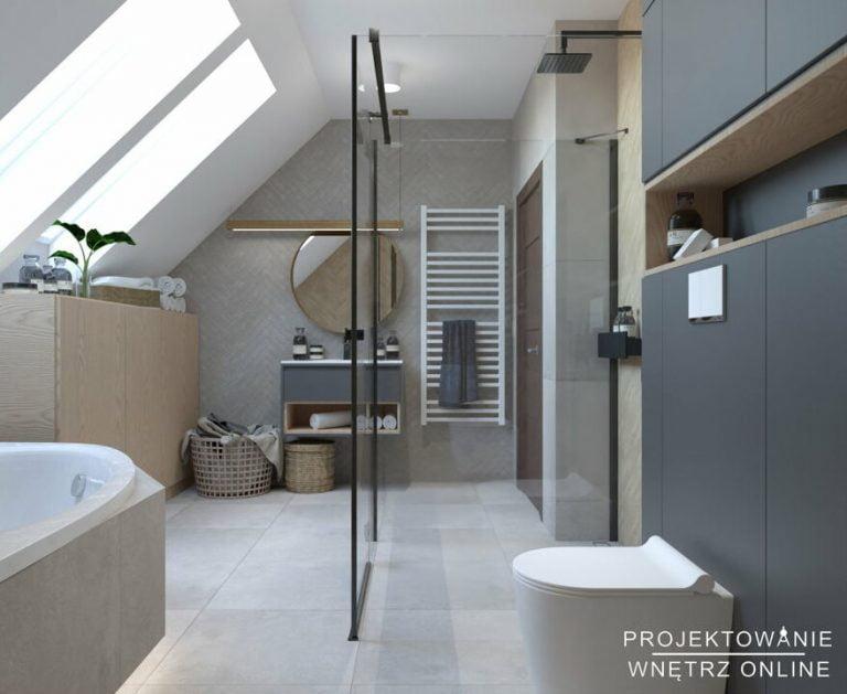 Aranżacja łazienki w stylu skandynawskim na poddaszu