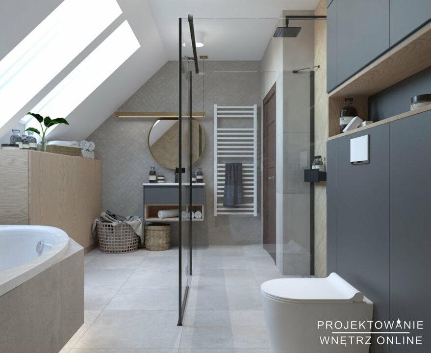 Aranżacja łazienki w stylu skandynawskim na poddaszu 7