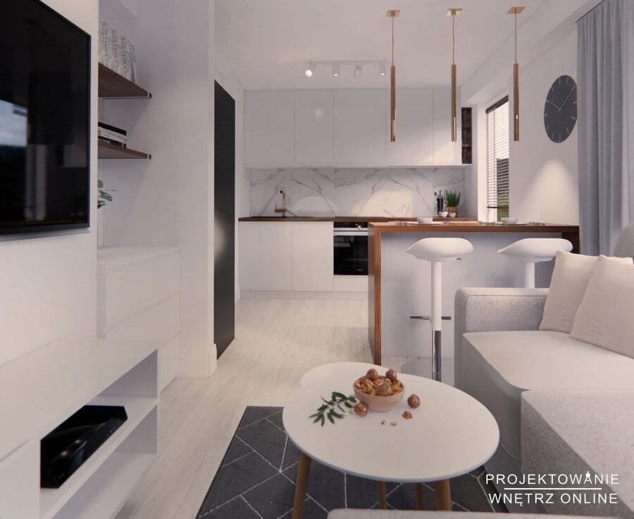 Eklektyczna kuchnia otwarta na salon 9