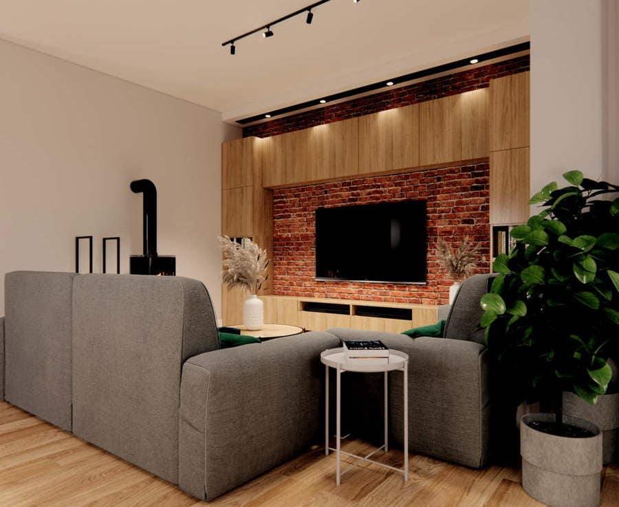 Projekt salonu ze ściną z cegły 8