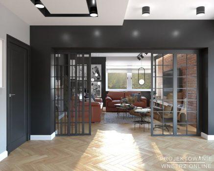 Duży stylowy industrialny salon (1)