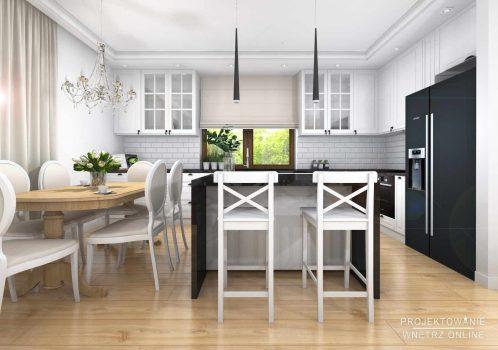 Elegancki salon z kuchnią w stylu glamour