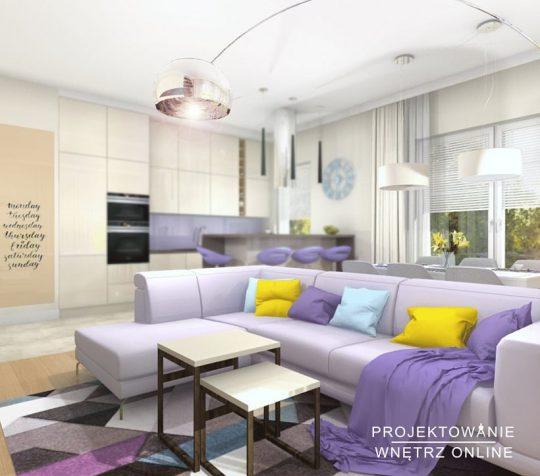 Projektowanie Wnętrz Online Salon z Aneksem Kuchennym
