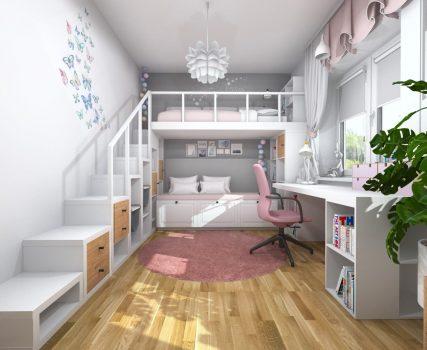 Rozowa sypialnia dziewczynki z lozkiem na antresoli (2)
