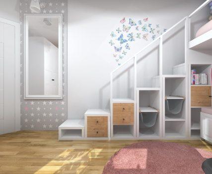 Rozowa sypialnia dziewczynki z lozkiem na antresoli (3)