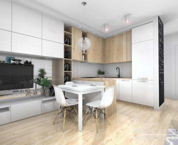 Salon z kuchnią w jasnych barwach 7