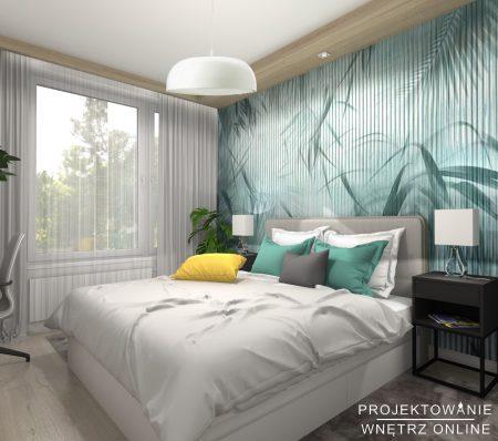 Skandynawska sypialnia w odcieniach turkusu1