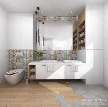 Łazienka z płytkami w stylu Meksykańskim
